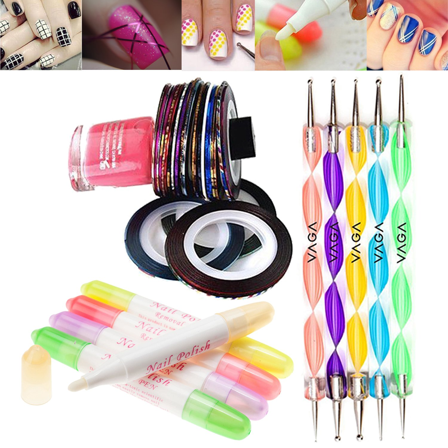 Great Value Professional Nail Art Set Kit With 5 Refillable Polish Varnish Removers / Correctors / Corrections Pens, 5 Double Ended Dotters / Dotting / Marbling Tools And 10 Rolls Striping Tapes / Lines Decorations Strips By VAGA®