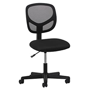 Essentials Swivel Armless Mid Back Mesh Task Chair - Ergonomic Computer/Office Chair (ESS-3000)