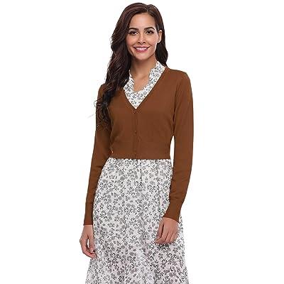 Abollria Women Long Sleeve Knit Cropped Bolero Shrug Cardigan Sweater (S-XXL) at Amazon Women's Clothing store