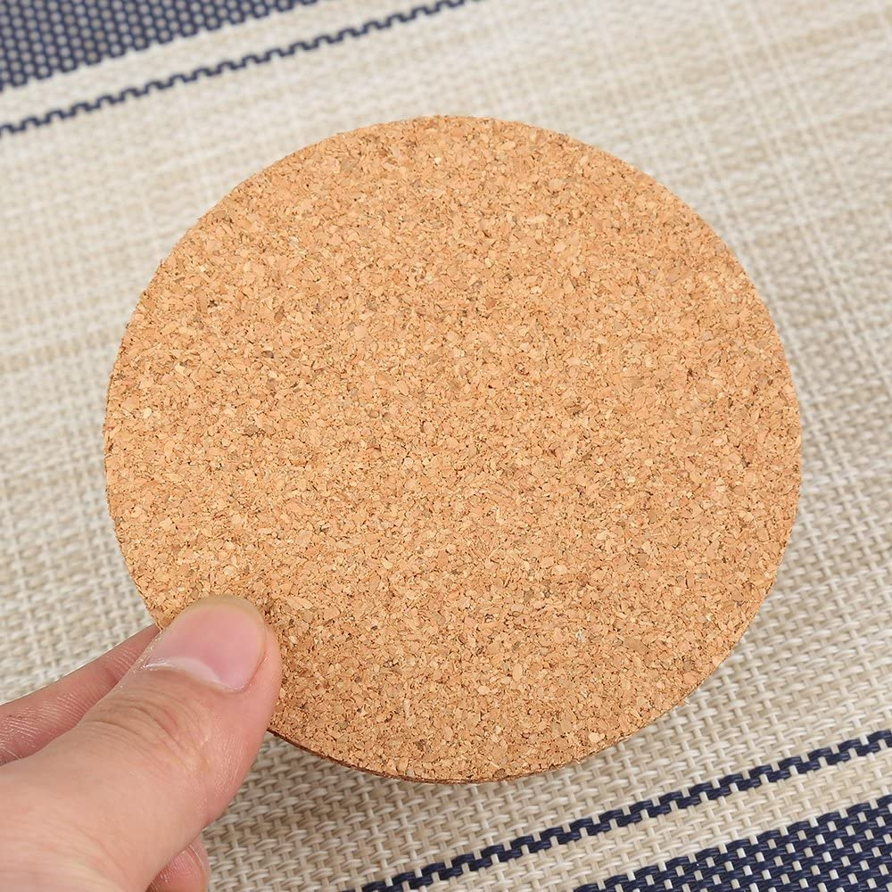 Yuanzhou Cork Round Coasters Heat-Resistant Mat Round Plain Ultra Thin Light Cork Coaster Suitable for Drinks and Coffee Hot Pot Pan and Kettle 1pc 90903mm
