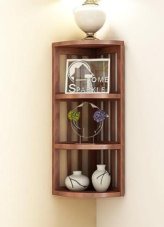 Home Sparkle Stripes Corner Shelf Engineered Wood  Brown