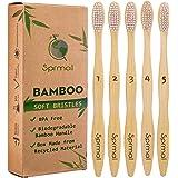 5pcs Sprmal Bamboo Toothbrushes Natural Organic Biodegradable and Vegan Bamboo Soft BPA Free Nylon Bristles for…