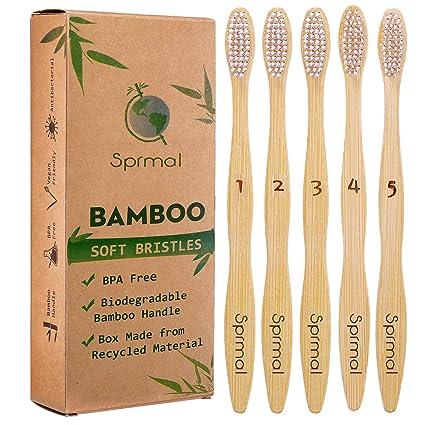 5 cepillos de dientes de bambú Sprmal orgánico natural ...