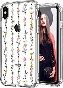 ICEDIO iPhone X Case with Screen Protector,iPhone Xs Case Clear with Fashionable Designs for Girls Women,Slim Fit TPU Cover Protective Phone Case for iPhone X/Xs Little Flower Garden