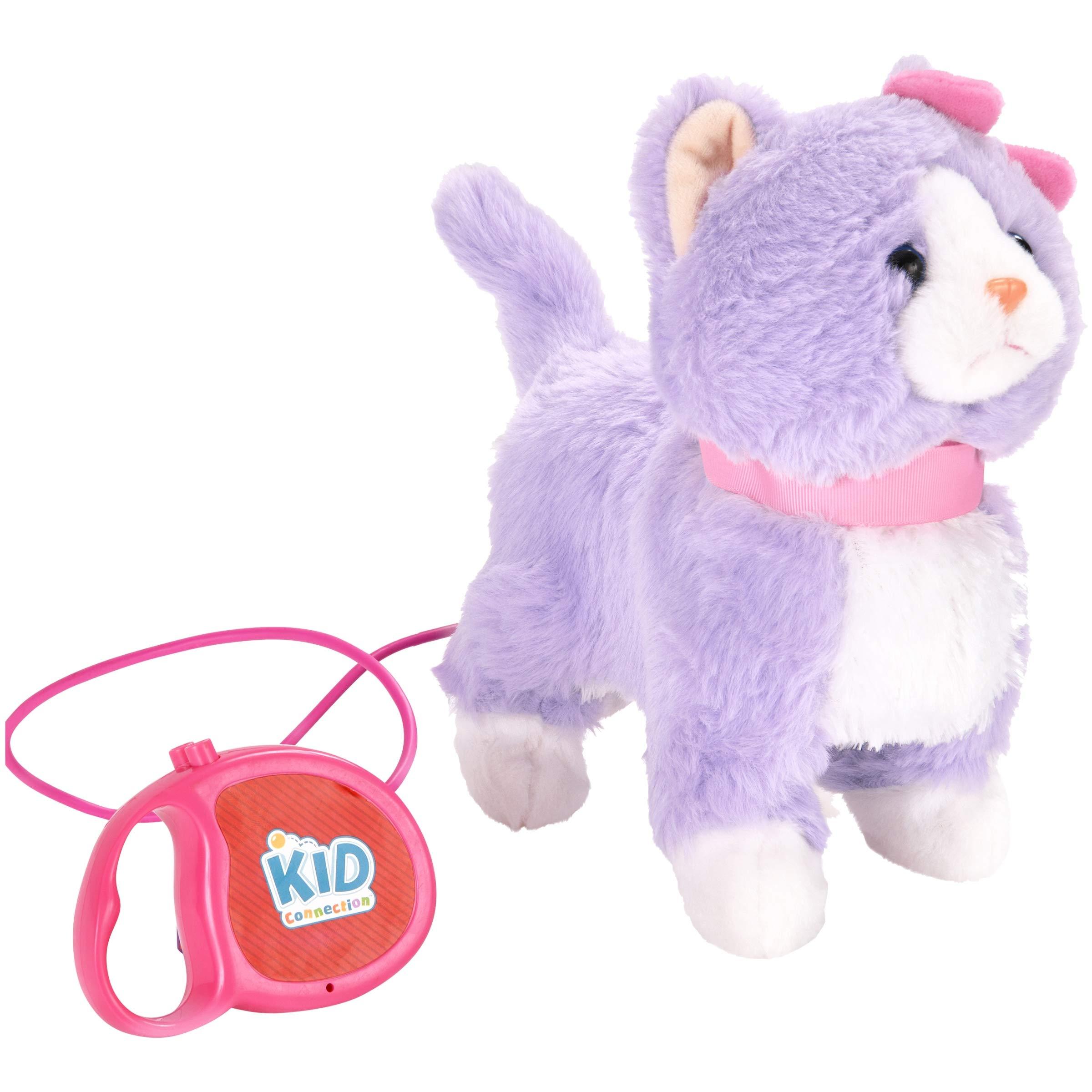 9'' Plush Cat Walking Pet, Purple & White with Pink Collar Remote Control Leash