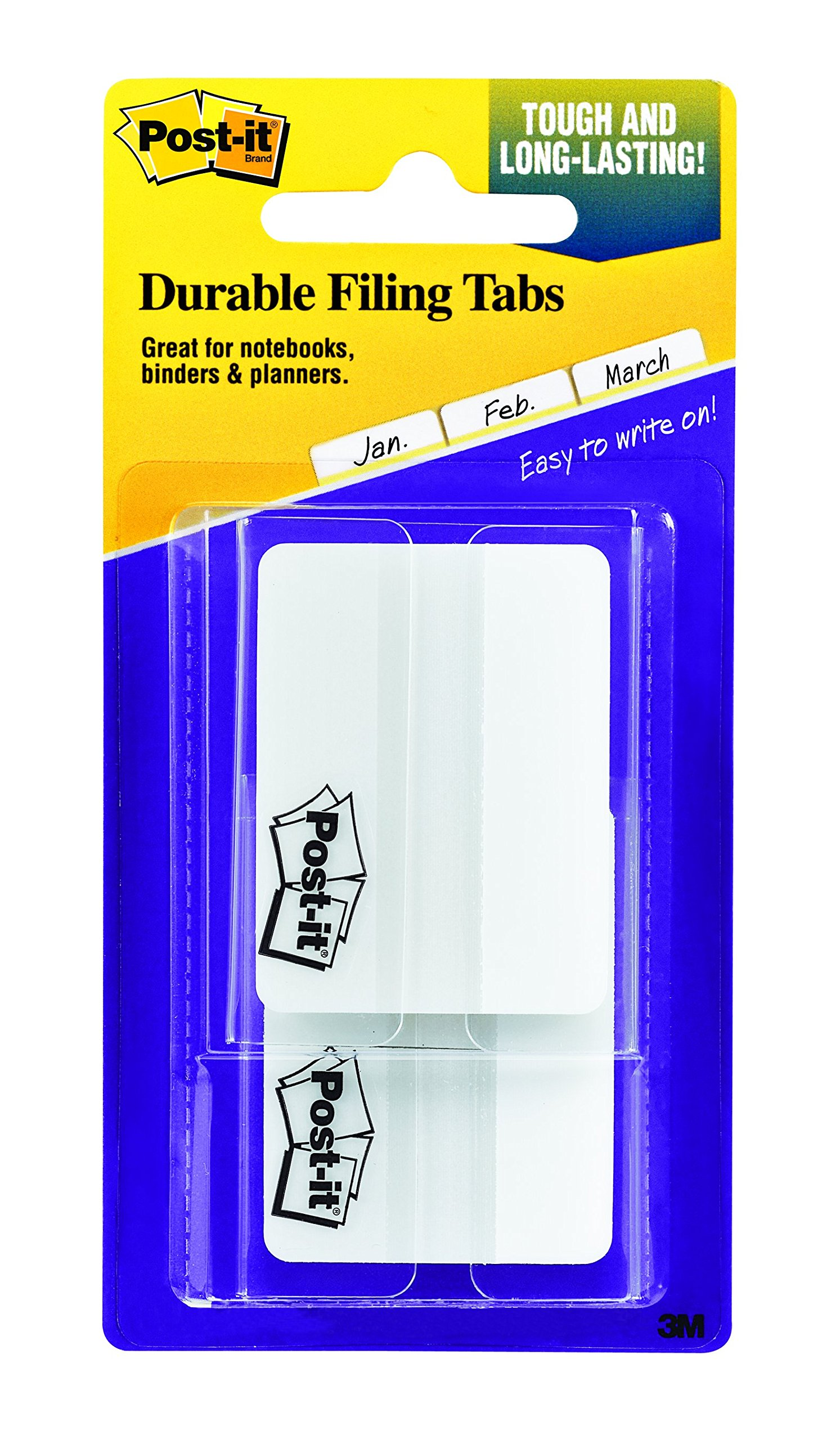 Post-it Tabs, 2 in, Solid, White, Durable, Writable, Repositionable, Great for Binders, Planners, and Notebooks, 25 Tabs/On-the-Go Dispenser, 2 Dispensers/Pack, (686F-50WH)