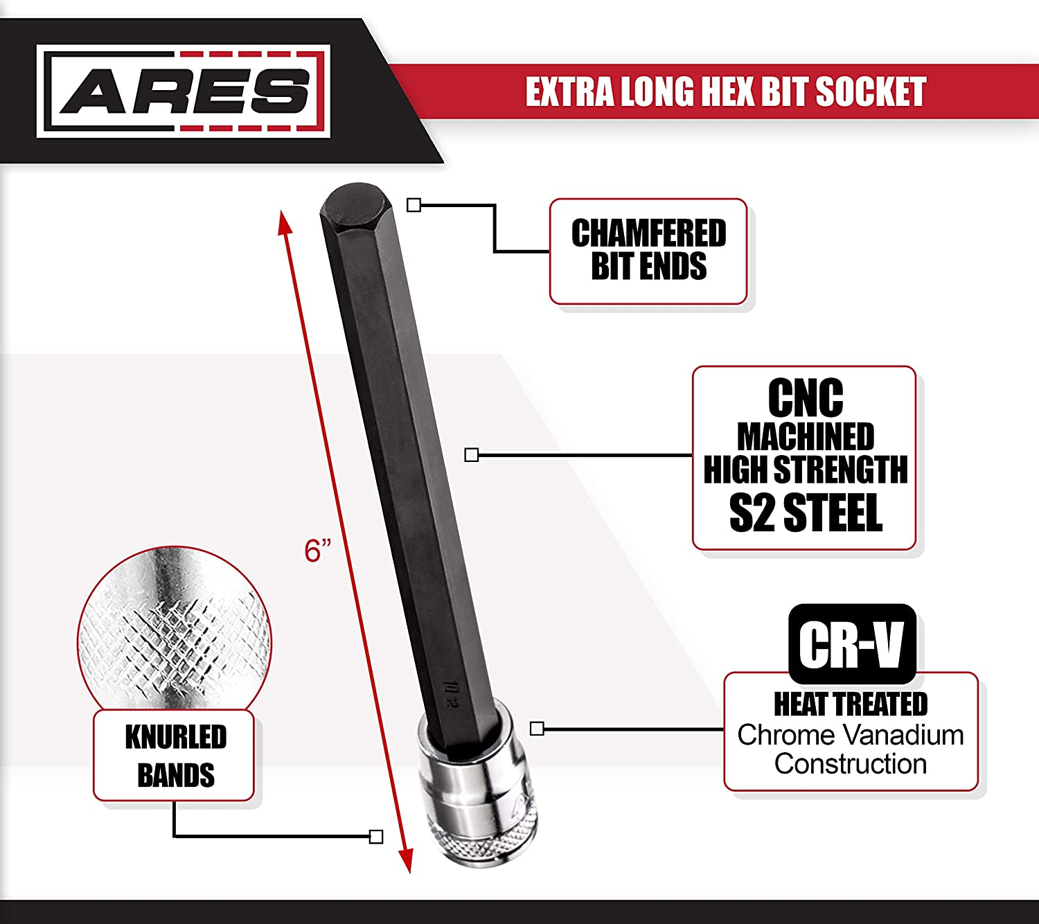 ARES 70281-5//16-Inch Extra Long Hex Bit S2 Bit Provides Greater Torque Precisely Machined Hex Bit Ends with 3//8-Inch Drive Heat Treated Chrome Vanadium Steel Sockets
