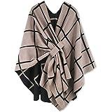 Moss Rose Women's Shawl Wrap Poncho Ruana Cape Open Front Sweater Cardigan for Fall Kimono Winter Holiday