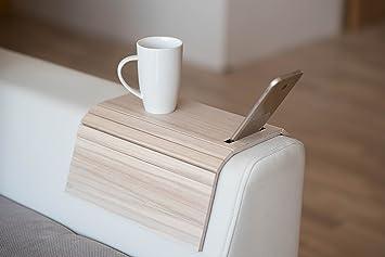 Bandeja de madera para sofá con protectores de reposabrazos, sofá, mesa, posavasos, bandeja para teléfono col1.