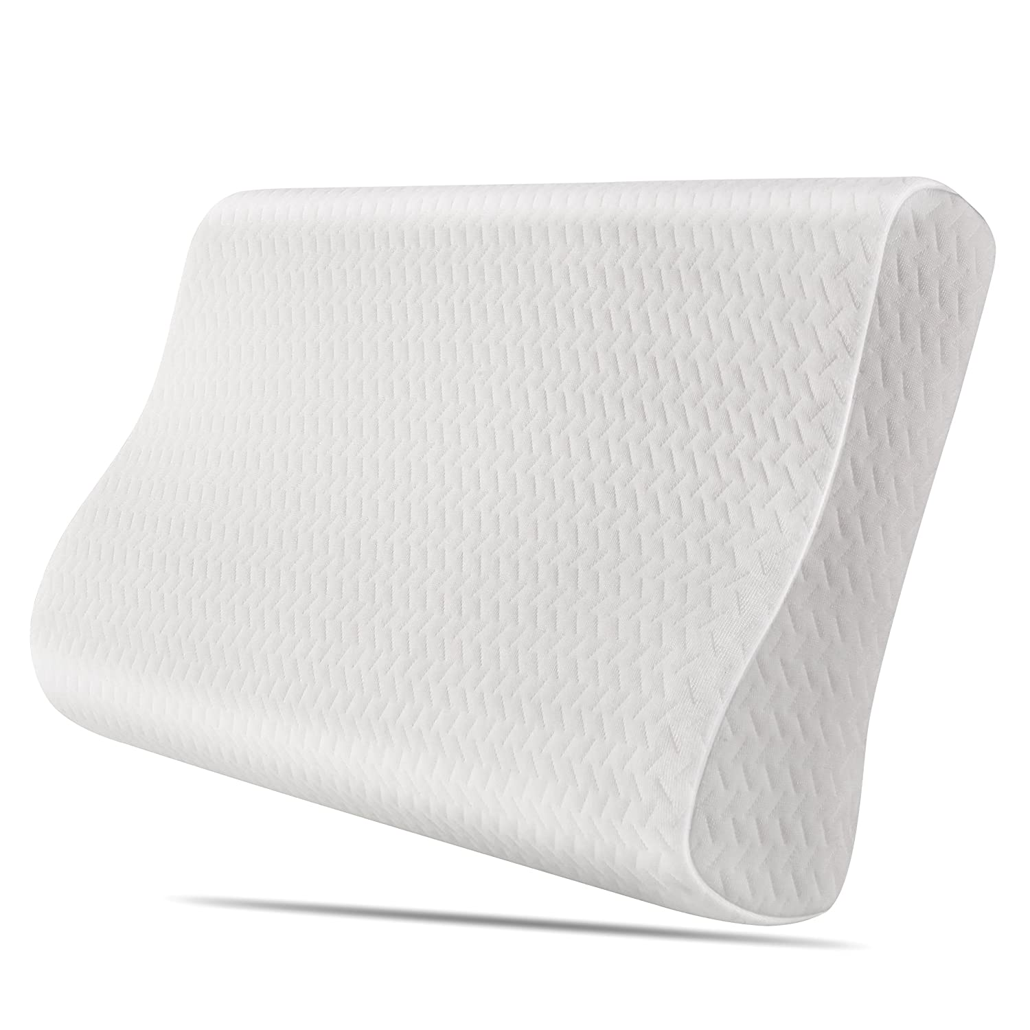 HOMFA Memory Foam Pillow Contour Orthopedic Neck Support Pillow with zipped Washable Cover 50*30*10cm White HOMFA Direct