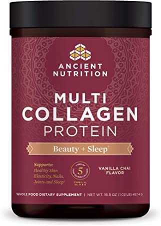 Ancient Nutrition Multi Collagen Protein Powder Beauty + Sleep Vanilla Chai, Formulated by Dr. Josh Axe, Collagen Supplement Promotes Restful Sleep & Supports Hair, Skin, Nails, Joints & Gut, 16.5oz