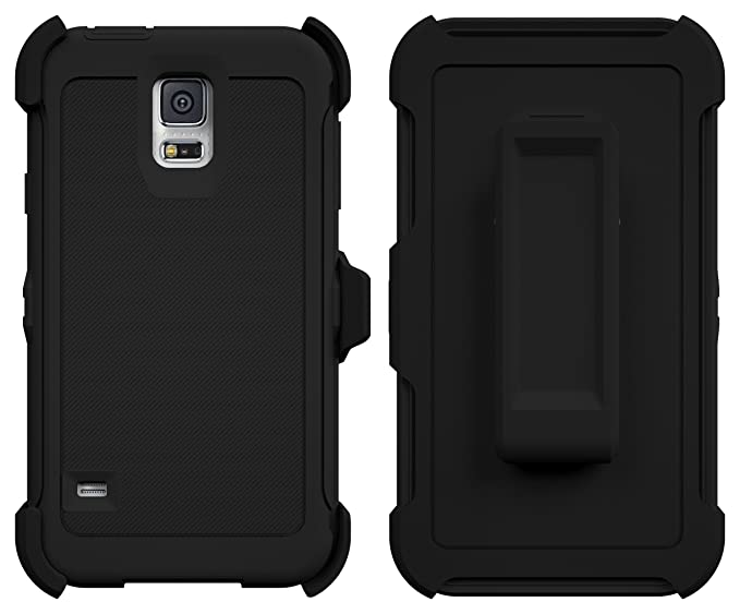 newest 4ec1d 8eff8 Galaxy S5 Case, ToughBox [Armor Series] [Shock Proof] [Black] for Samsung  Galaxy S5 Case [Built in Screen Protector] [With Holster & Belt Clip] [Fits  ...