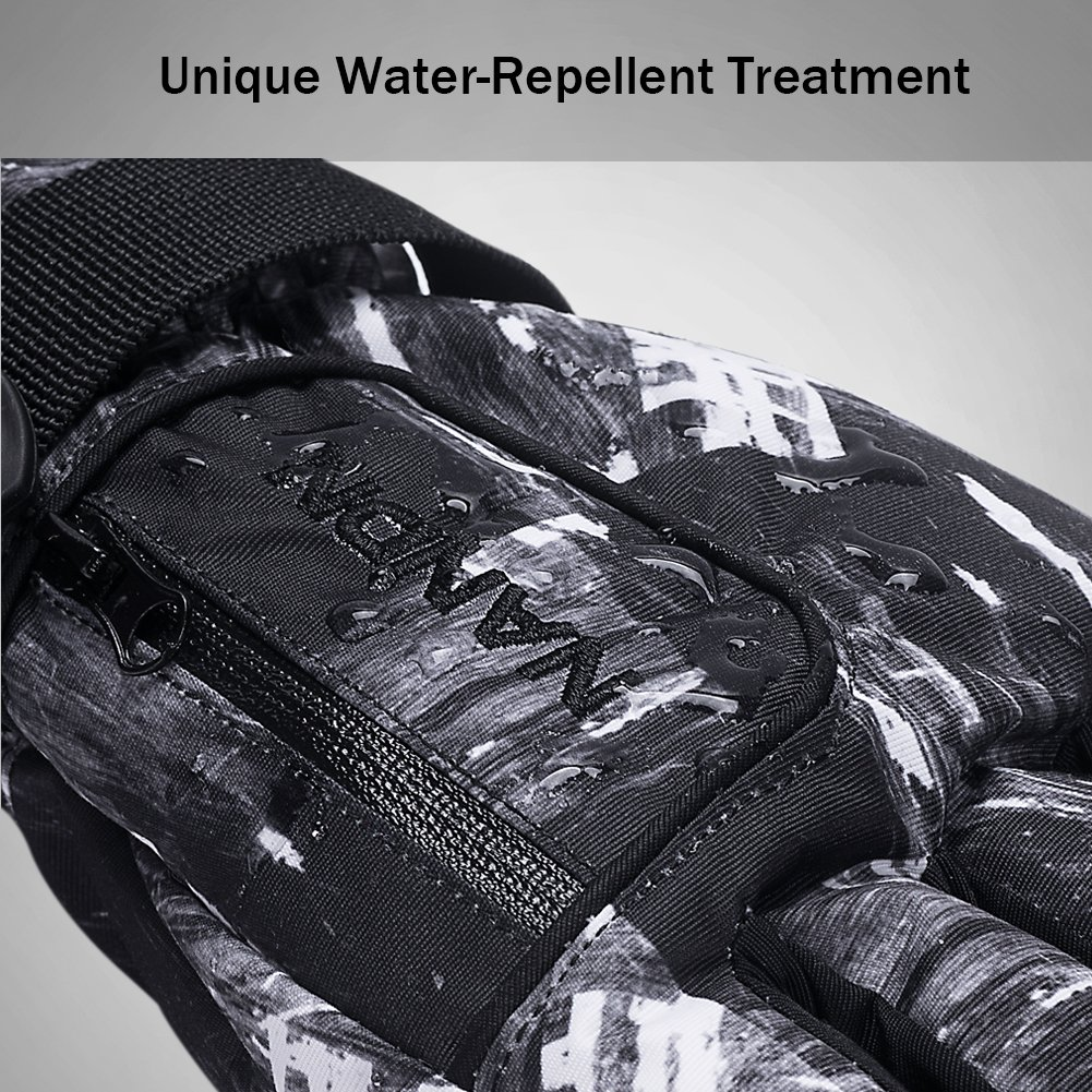 Winter Ski Gloves Men Waterproof Snow Gloves with Zipper Pocket and Anti-Slip PU Palms for Outdoor Skiing Snowboarding Riding Climbing and Skating