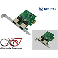 Carte Controleur PCI Express PCIe 2 ports RJ45 Gigabit Ethernet 10/100/1000Mbps. Double Chipset REALTEK. Equerres Low et High Profile. Windows, Linux, MAC OS et DOS