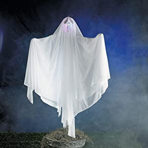 Fun Express Halloween Ghost Yard Stake with Light Up Flashing Lights - Outdoor Haunted House Decorations