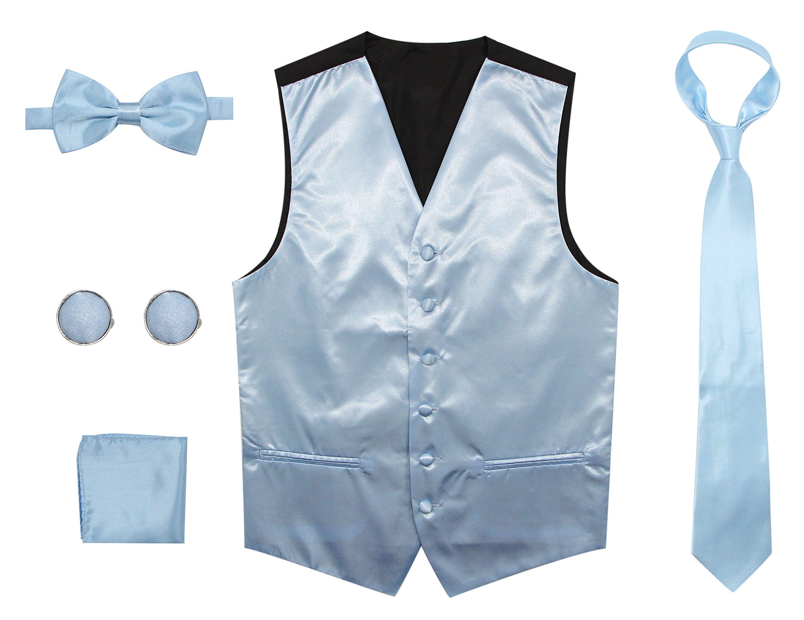 Bioterti Men's 5-Piece Vest Set: Vest + Necktie + Pre-Tied Bowtie+ Pocket Square + Pair Of Cufflinks (Large, Sky Blue)