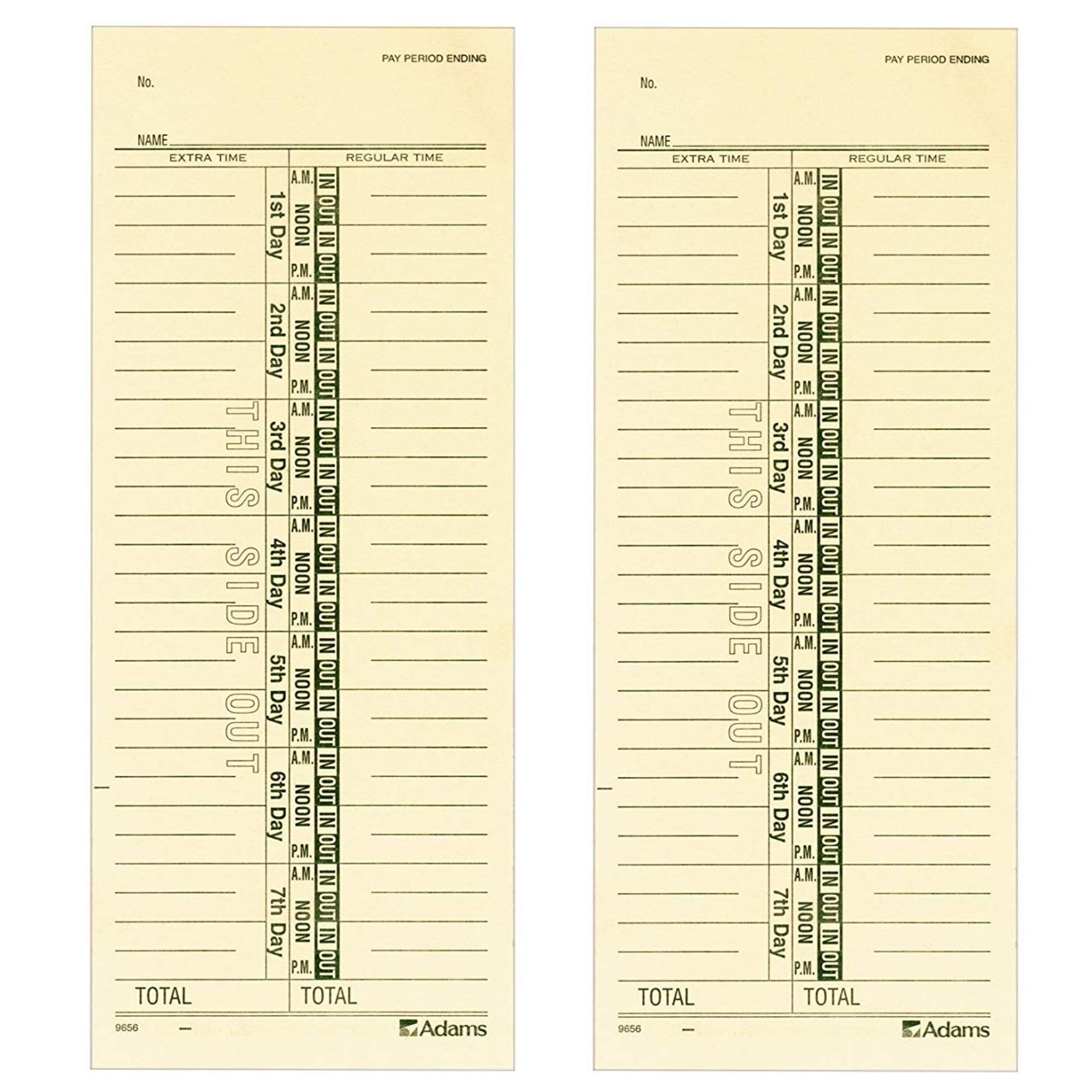 Adams Time Cards, Weekly, 1-Sided, Numbered Days, 3-3/8'' x 9'', Manila, Green Print, 200-Count (9656-200), 2 Pack by Adams