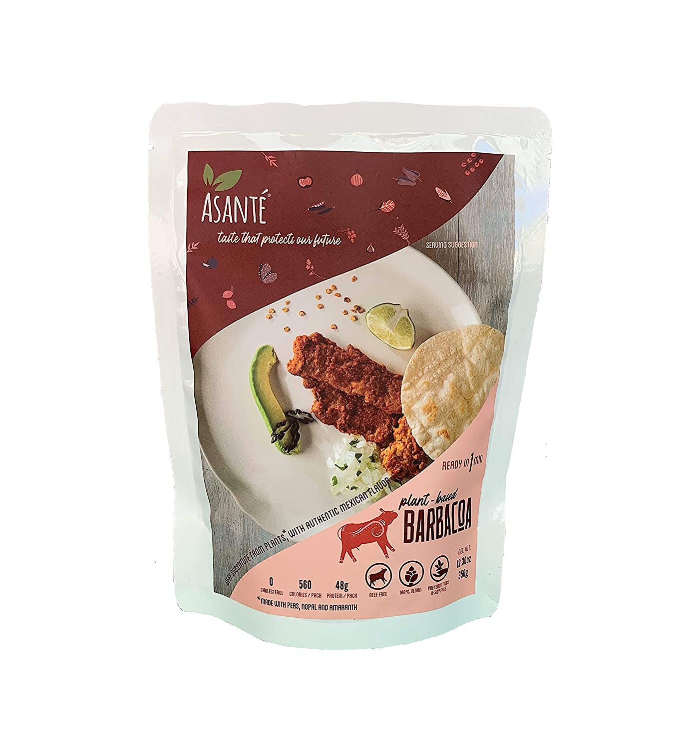 Asante Plant-Based Barbacoa - Vegetarian Food - Meatless, Vegan Alternative - Meat Substitute with Authentic Mexican Flavor - Fresh, Delicious Flavors Made With Natural Ingredients