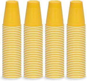 DecorRack Party Cups 12 oz Reusable Disposable Cups for Birthday Party Bachelorette Camping Indoor Outdoor Events Beverage Drinking Cups Yellow (120 Pack)