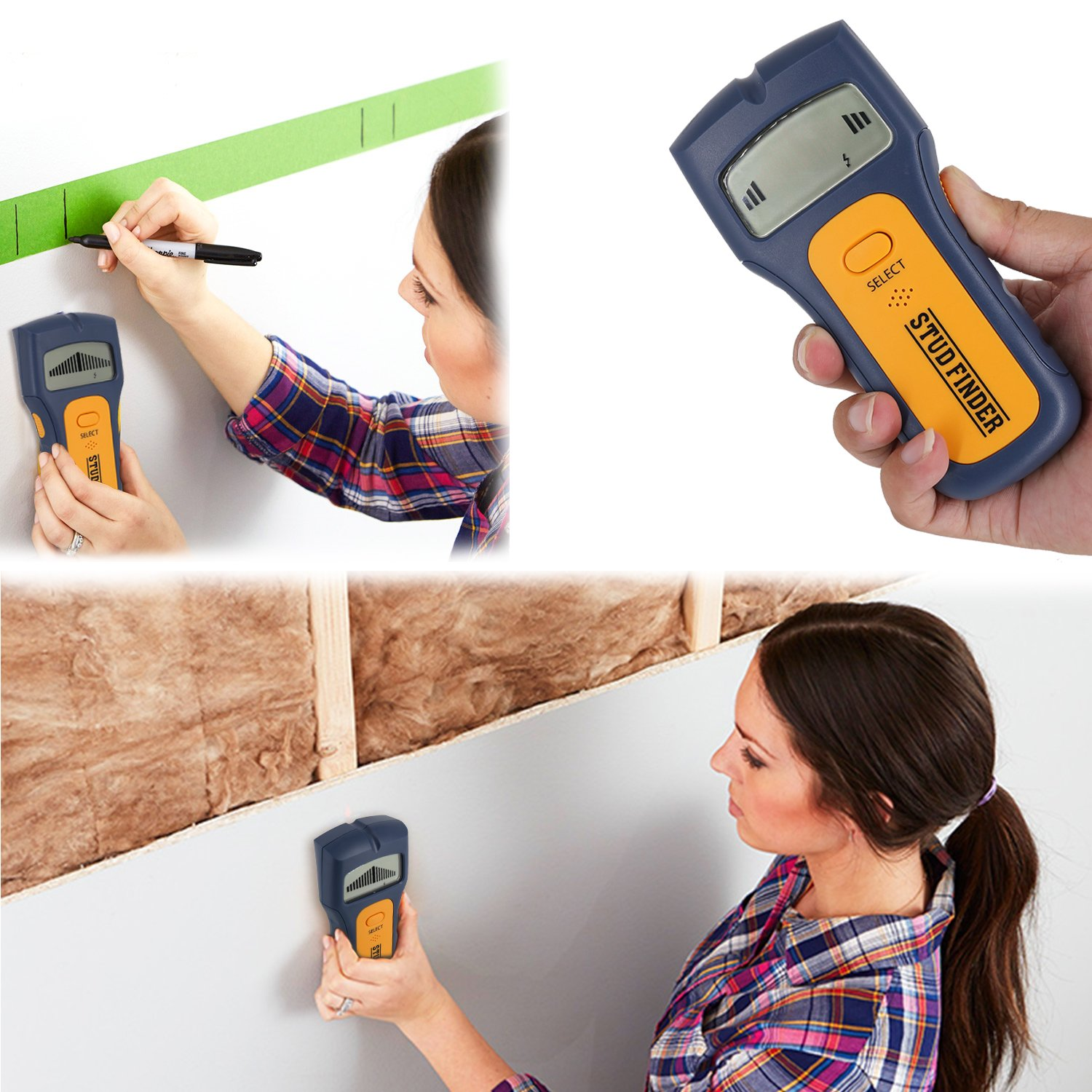 Stud Finder, Multifunction Edge-Finding wall Stud Finder & Sensor for Wood Metal/Wall Studs/AC Wire (yellow) (stud finder8) by imoocare (Image #1)