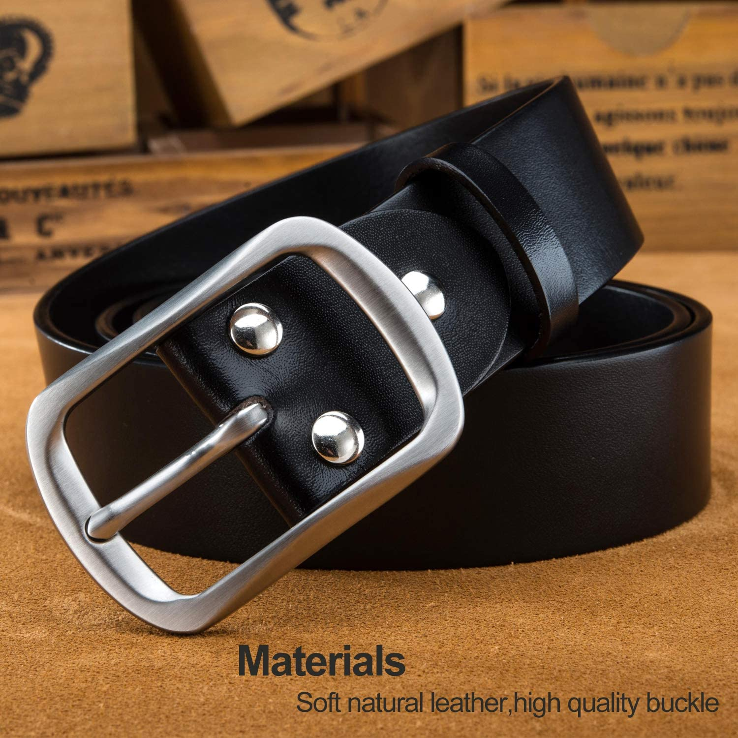 LUCIANO Casual Soft Italy Cowhide Genuine Leather Steel Buckle Dress Belt for Men