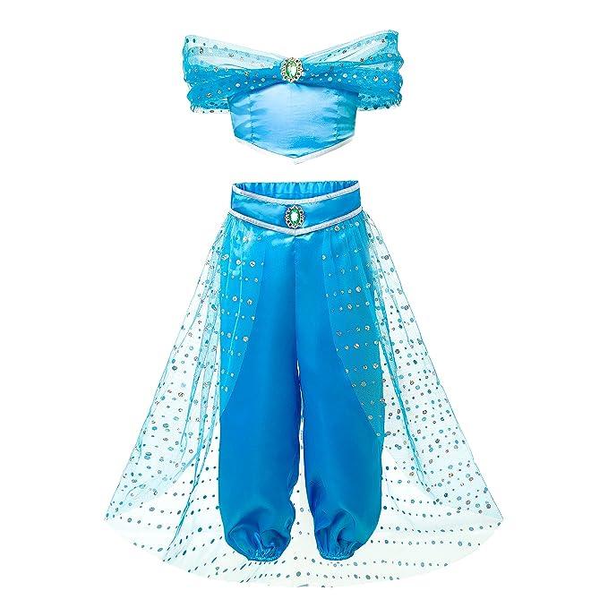 Amazon.com: Pettigirl Niñas sedoso azul princesa árabe ...