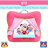 Finger Puppet Theater Stage by Better Line - Set Includes 6 Finger Family Puppets - Portable Plush Finger Puppet Theater is the Best Preschool Kids Toy (Pink Color)