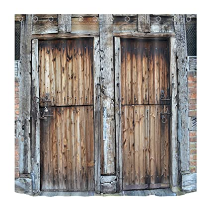 100/% Polyester Fabric Retro Rustic Wood Barn Door Shower Curtain Bathroom Hooks