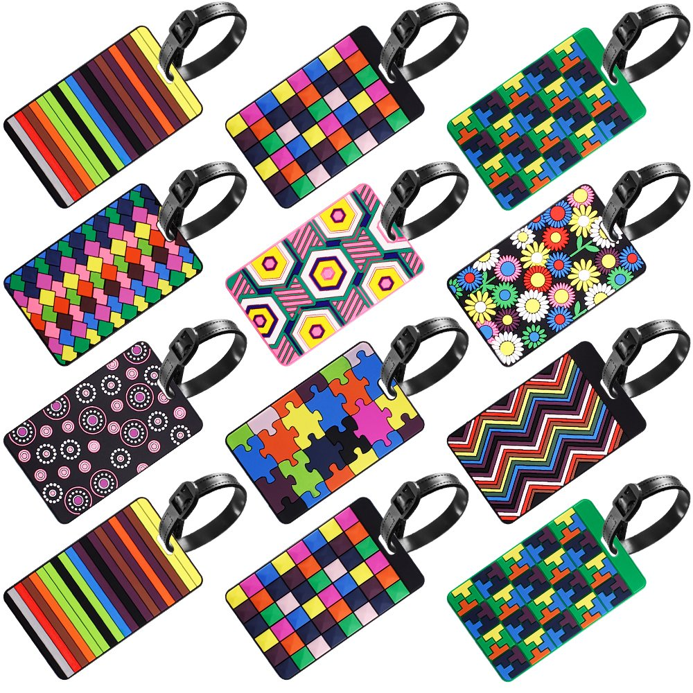 12 Pack Luggage Tags, SENHAI Assorted Travel Suitcase Labels ID Identifier Tags Business ID Card Holder SH-luggage_tags_12