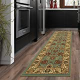 "Ottomanson Otto Home Collection Persian Style Rug Oriental Rugs Runner Rug with Non-Skid (Non-Slip) Rubber Backing, 20"" L X 59"" W, Sage Green/Aqua Blue"