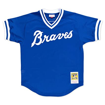 dac5395e5 Amazon.com : Mitchell & Ness Dale Murphy Atlanta Braves Men's Authentic  1981 BP Jersey - Blue : Clothing