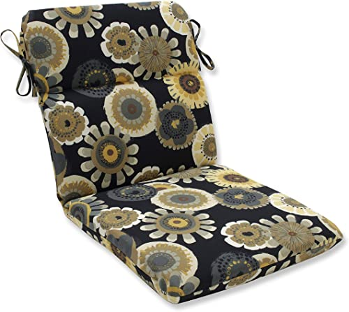 Pillow Perfect Outdoor/Indoor Crosby Ebony Round Corner Chair Cushion