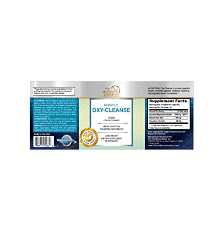 The One Minute Miracle Oxy-Cleanse Vegan Colon Cleanser – 80 Vegatarian Capsules.