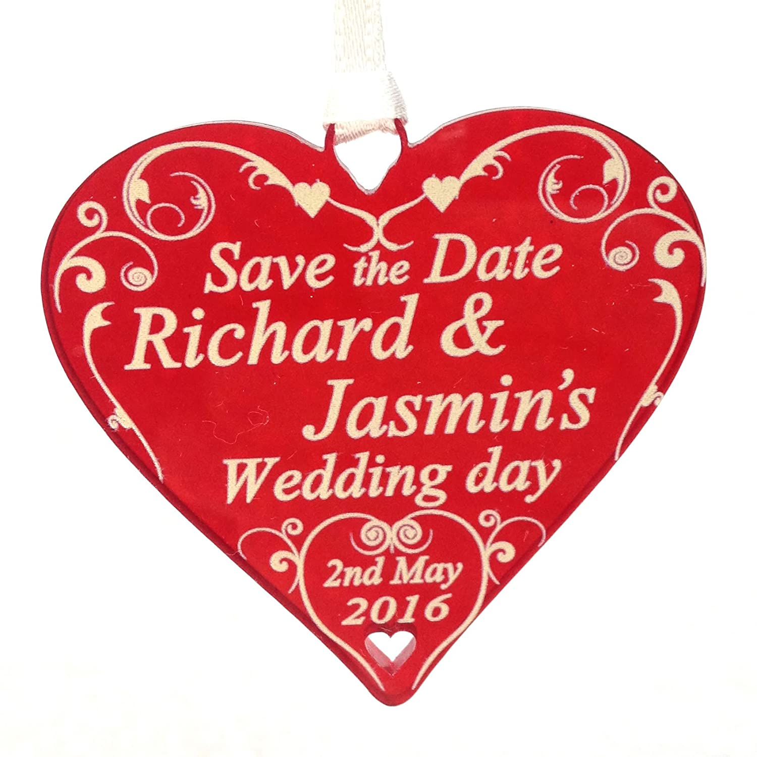 Hanging heart SAVE THE DATE personalised wedding invitation 5cm ...