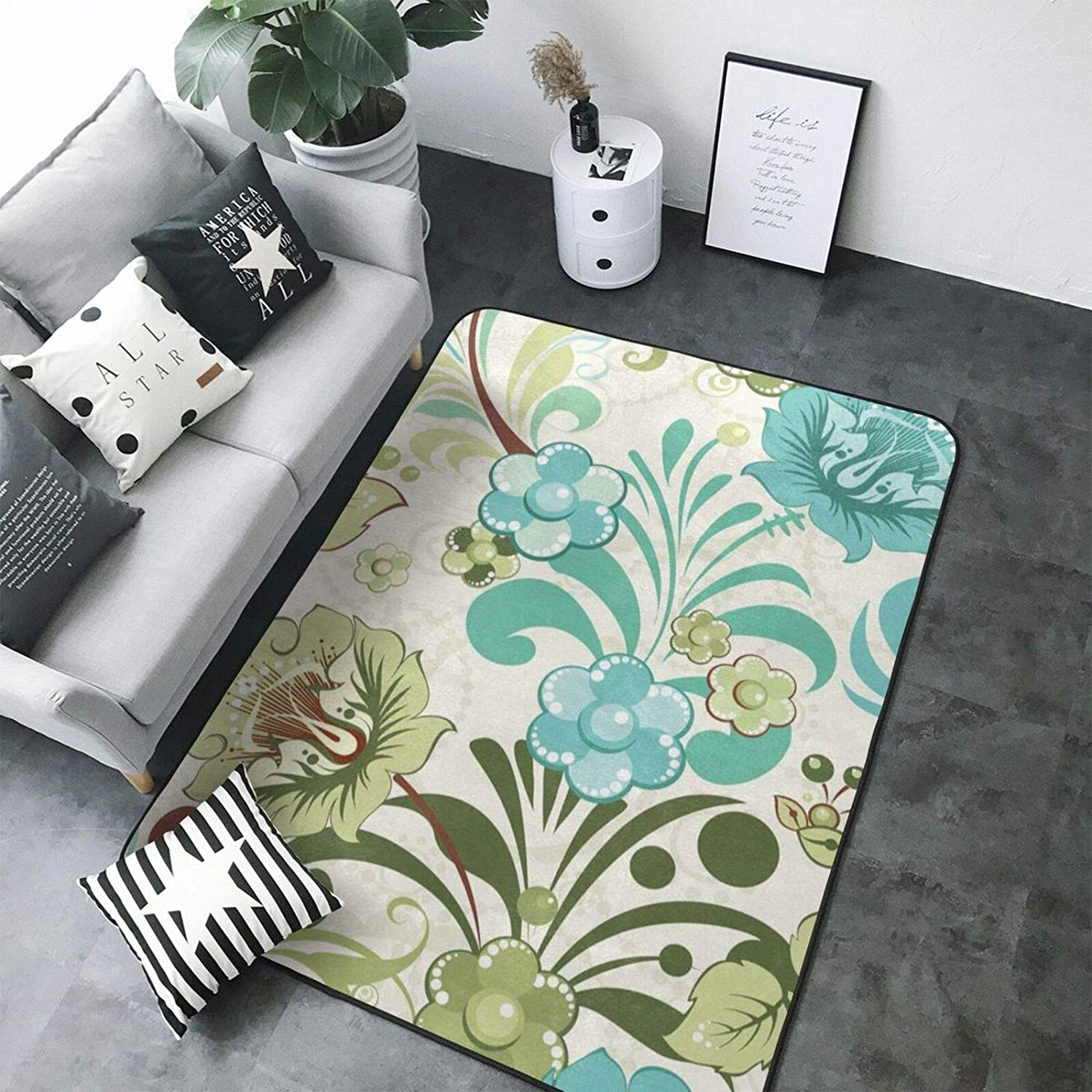 Green Flower Print Area Rugs, Extra Comfy and Soft Carpet, for Bedroom Living Room Bedside Carpet - Modern Indoor Decor (80 X 58 in)
