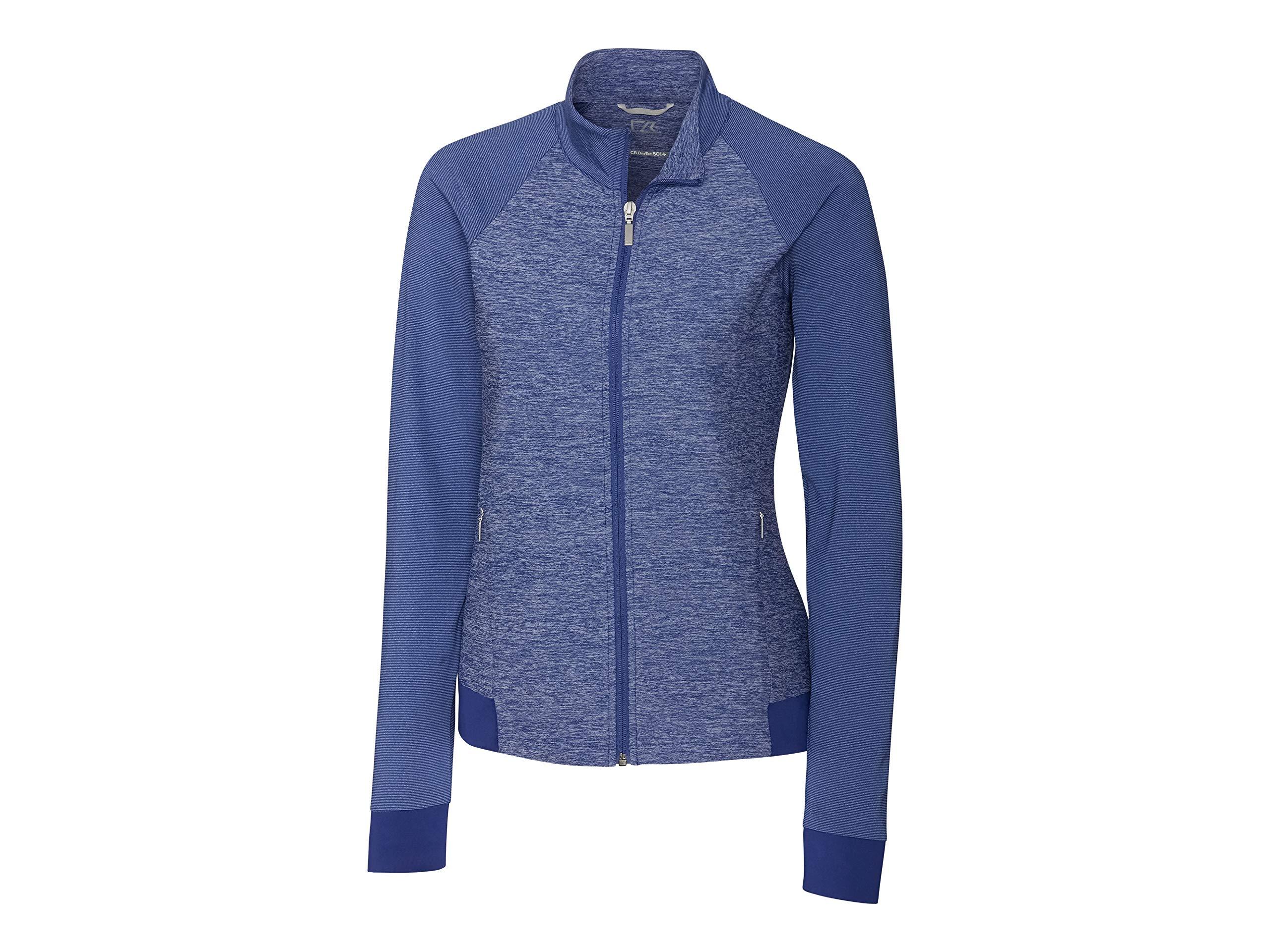 Cutter & Buck LCK08688 Women's L/S Lena Full Zip Jacket, Tour Blue - XS