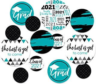 product image for Big Dot of Happiness Teal Grad - Best is Yet to Come - 2021 Graduation Party Giant Circle Confetti - Turquoise Grad Party Decorations - Large Confetti 27 Count