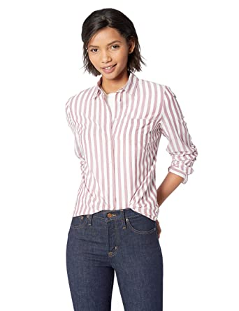 35cab1a1519c J.Crew Mercantile Women s Striped Button Down Shirt at Amazon Women s  Clothing store