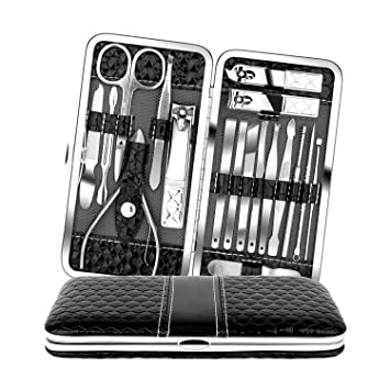 0585ac1dc43f Teamkio 18pcs Stainless Steel Professional Manicure Pedicure Set| Nail  Clippers Travel Hygiene Nail...
