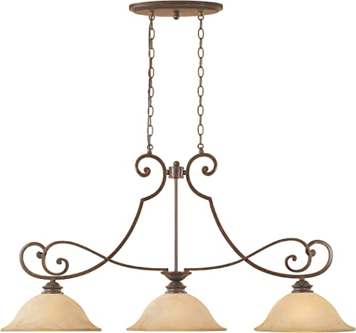 Designers Fountain 81838-FSN Mendocino Collection 3-Light Island Fixture, Forged Sienna Finish with Warm Amber Glaze Glass Shades
