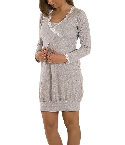 8ca671b3b Premamy - Premamá Camisón De Embarazo Y Lactancia Para Mujer - Color  Gris  - Tamaño