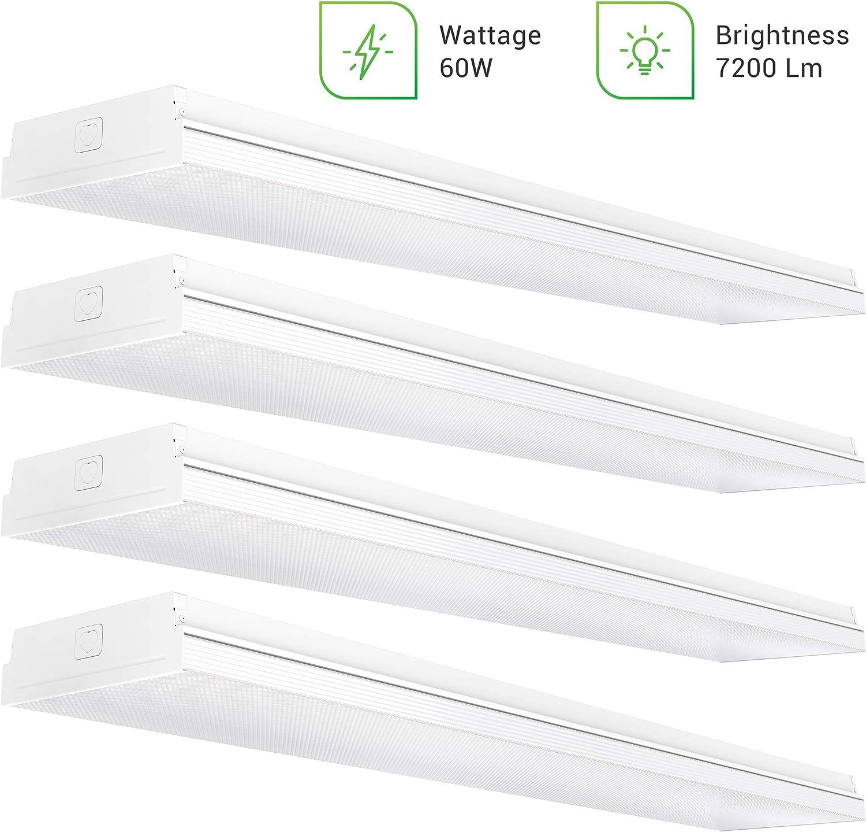 "Sunco Lighting 4 Pack Wraparound 8.5"" Wide LED Shop Light, 4 FT, Linkable, 60W, 7200 LM, 5000K Daylight, Integrated, Prismatic Lens, Direct Wire, Flush Mount Fixture, Garage - ETL"