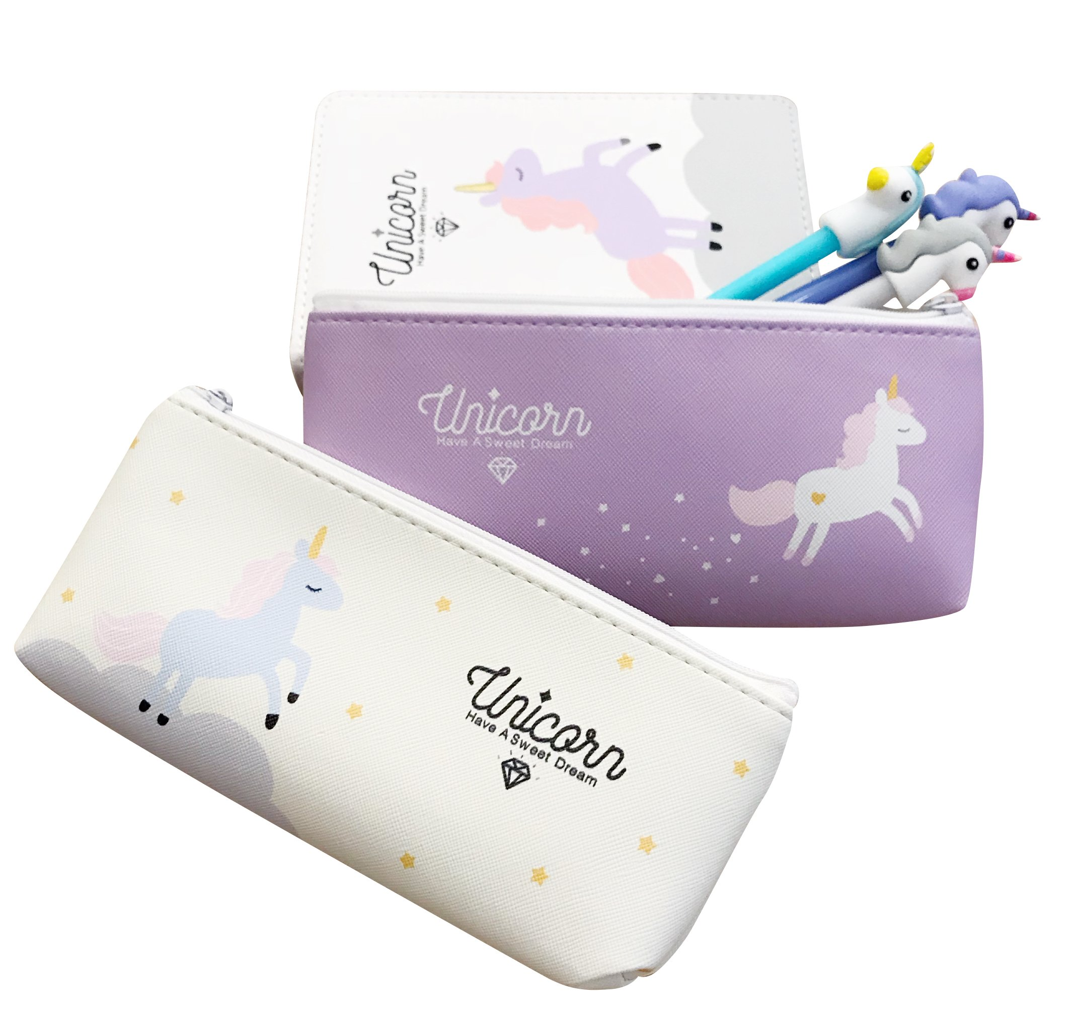BelleWithLove BWL Assorted Unicorn School Supplies Stationary Pen Pencil Case Weekly Monthly Planner Calendar Notebook Diary Journal Unicorn Gift Set - Students Girls Teens Kids