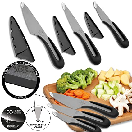 Berela Set de Cuchillos Profesionales de cerámica Negra, Set de Cuchillos cerámica de una Sola Pieza, con Doble Afilado.