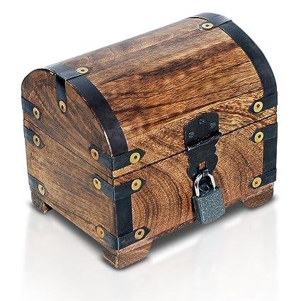 Brynnberg Caja de Madera con candado Cofre del Tesoro Pirata de Estilo Vintage | Hecha a