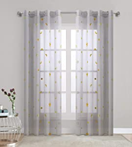 Gold Stars Curtains 84 inch Length Light Grey Sheer Window Treatment for Girl Bedroom Transparnt Thin and Flowing Cute Star Perfect for Home Décor Grommet 2 Panels