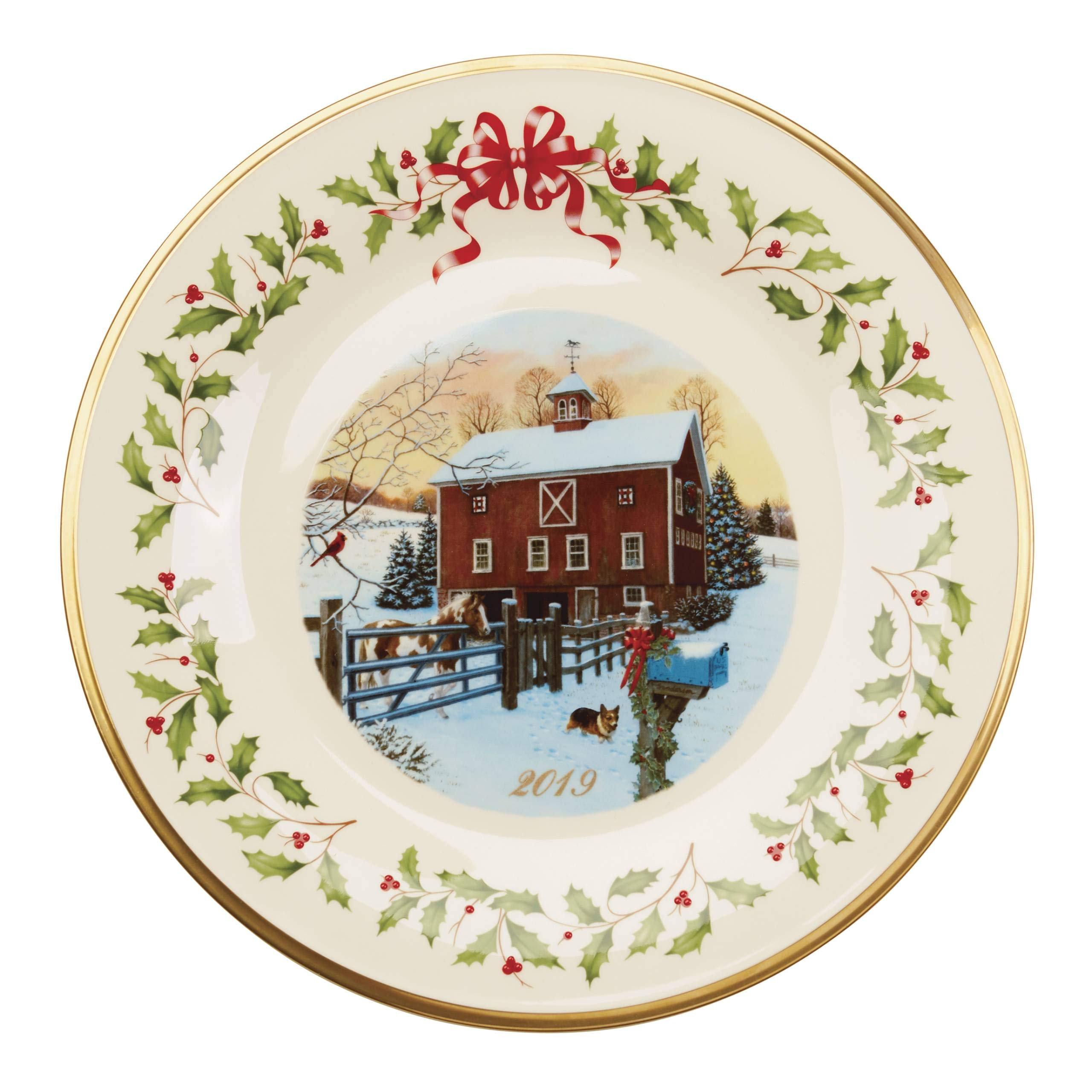 Lenox 887099 2019 Holiday Barn Scene Plate by Lenox