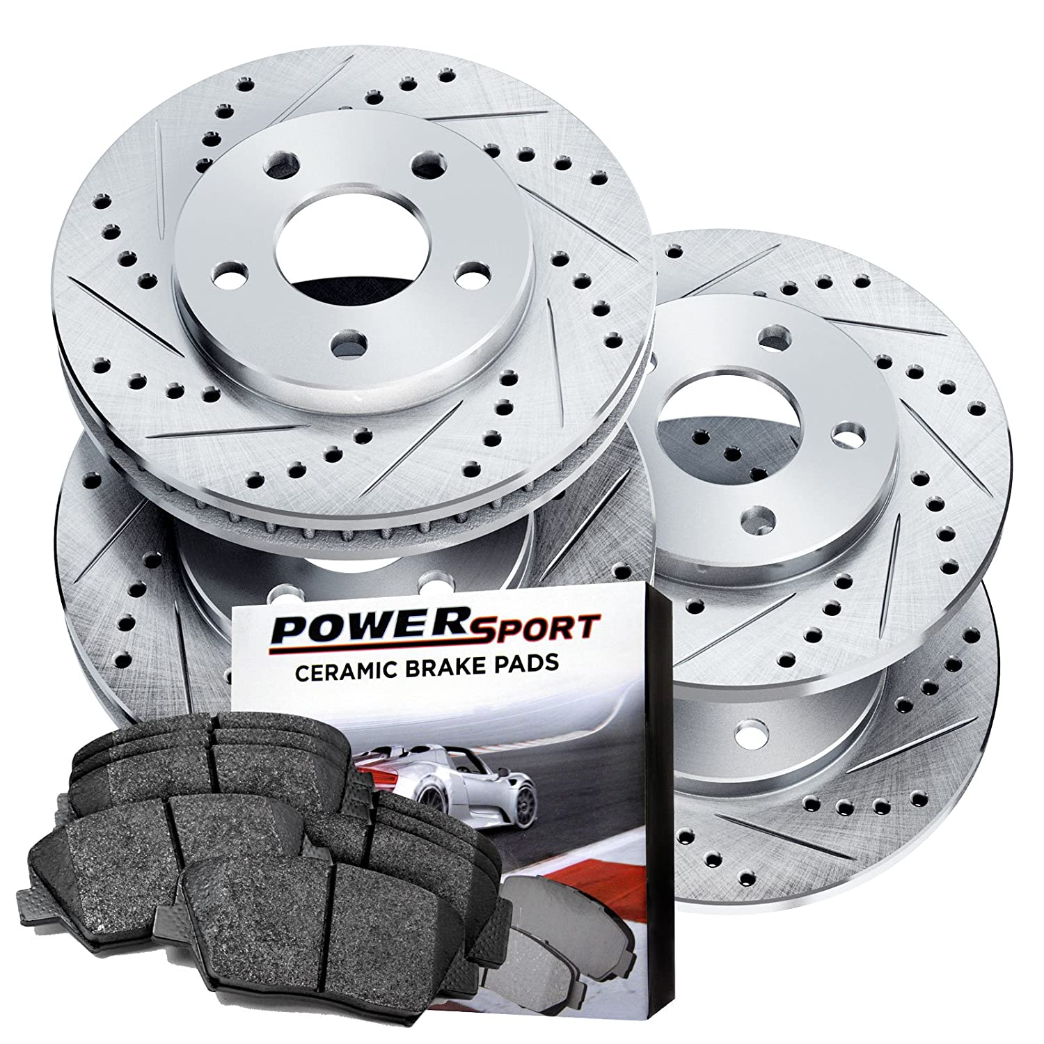 Power Sport Cross Drilled Slotted Brake Rotors and Ceramic Brake Pads Kit -80765 [Front & Rear]
