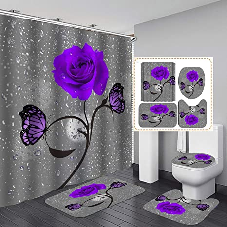 Amazon Com Fashion Man 16pcs Set Raindrop Butterfly Rose Flower Shower Curtain Fabric Cloth Polyester Waterproof Bath Curtain Non Slip Bathroom Rugs Bath Mat Set Toilet Lid Cover Elegant Bathroom Decor Purple Home Kitchen