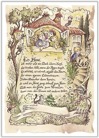 Geschenk Haus Einzug Zeichnung Color 30 X 21 Cm Amazon De Kuche